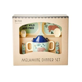 rice Denmark Rice melamine kinderservies jungle  blauw