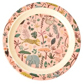rice Denmark Rice melamine kinderbord All Over jungle print roze