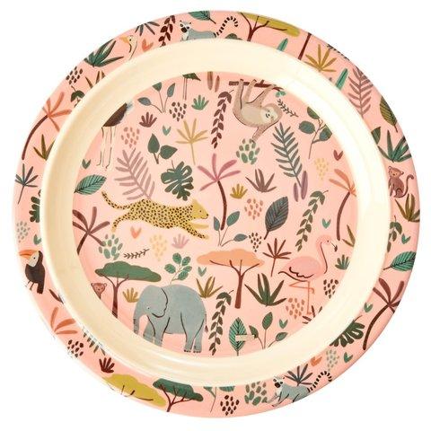 Rice melamine kinderbord All Over jungle print roze