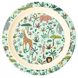 rice Denmark Rice melamine kinderbord All Over jungle print blauw