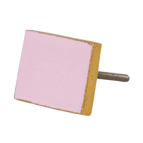 Bombay Duck deurknop  rechthoek roze met gouden rand