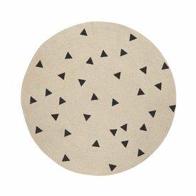 Ferm Living Kids Ferm Living jute vloerkleed met zwarte driehoekjes klein