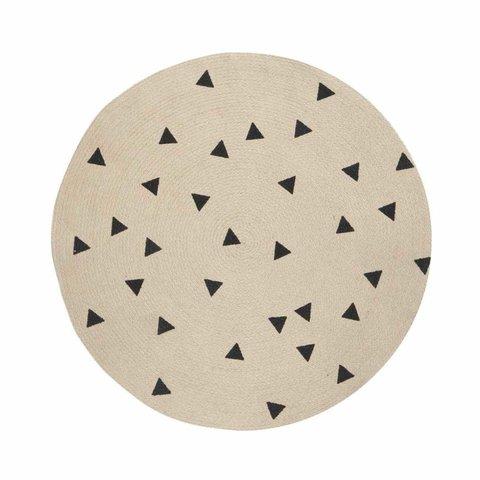 Ferm Living jute vloerkleed met zwarte driehoekjes klein