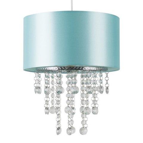 Kinderlamp turquoise met transparante kralen