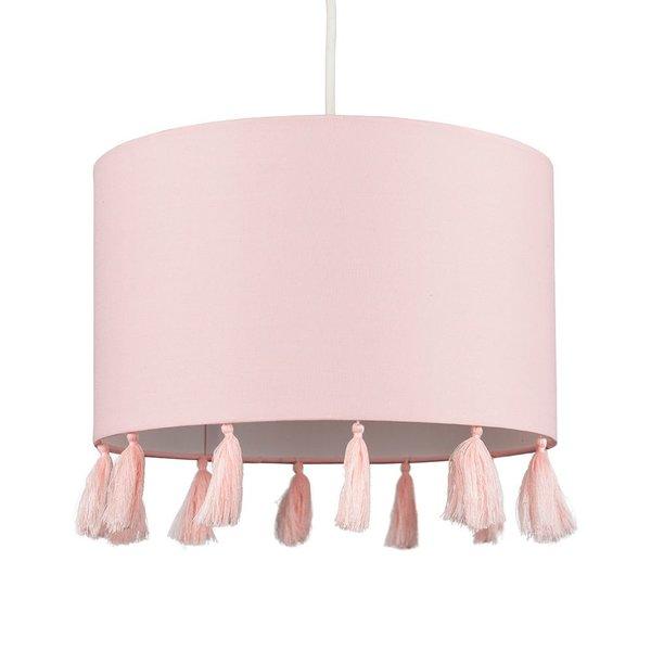 Kinderlamp  roze met roze met kwasten