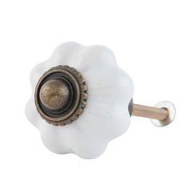 Clayre & Eef Deurknop bloem wit klein