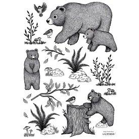 Lilipinso Lilipinso muursticker beren zwart wit