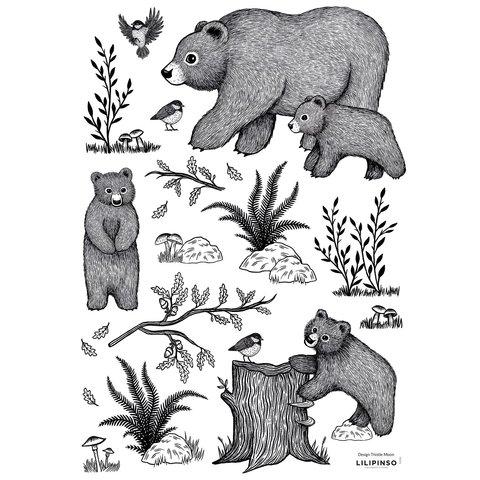 Lilipinso muursticker beren zwart wit