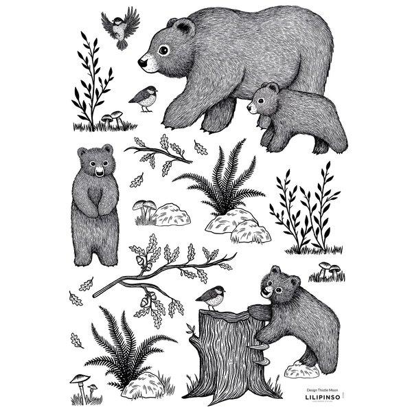 Lilipinso Lilipinso muursticker kinderkamer beren zwart wit