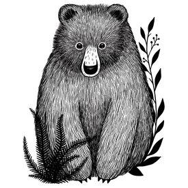 Lilipinso Lilipinso muursticker beer  zwart wit