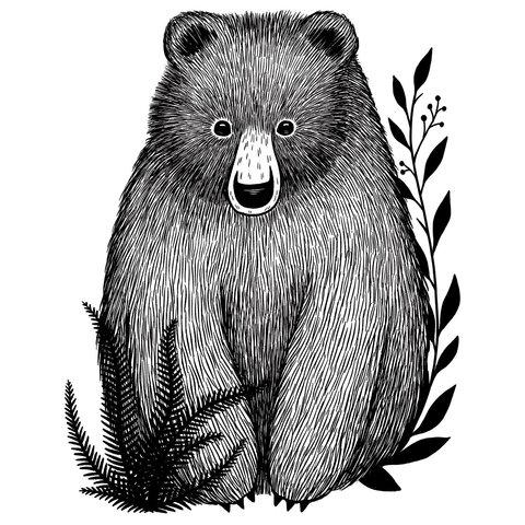 Lilipinso muursticker beer  zwart wit