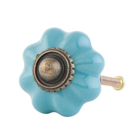 Deurknop bloem aqua klein