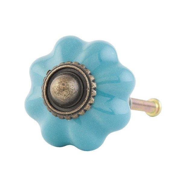 Clayre & Eef Deurknop bloem aqua klein