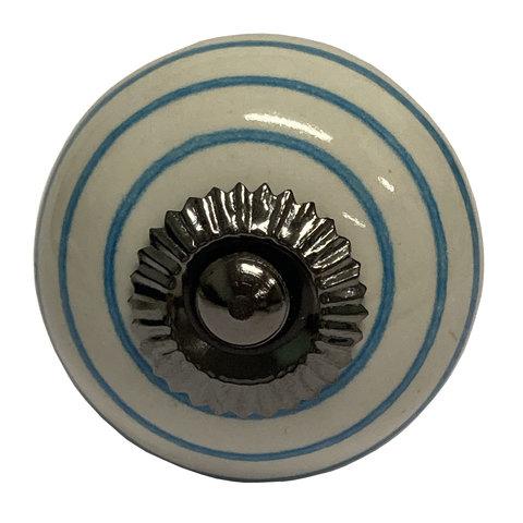 La Finesse kastknopje wit met blauwe strepen
