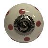 La Finesse deurknop porselein wit met donkerroze stippen