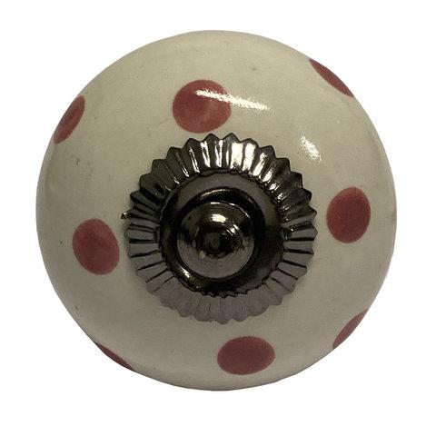 Deurknop porselein wit met donkerroze stippen