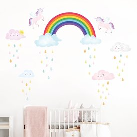Decowall Decowall muursticker eenhoorn Rainbow and Unicorn