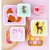 A Lovely Little Company lunchbox bosdieren set van 4