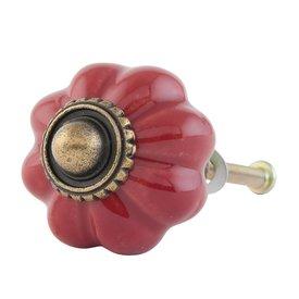 Clayre & Eef Deurknop bloem rood klein