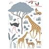 Lilipinso muursticker kinderkamer dieren safari giraffe enflamingo's