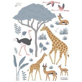 Lilipinso Lilipinso muursticker dieren safari Tanzania giraffe en flamingo's