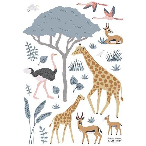 Lilipinso muursticker dieren safari Tanzania giraffe en flamingo's