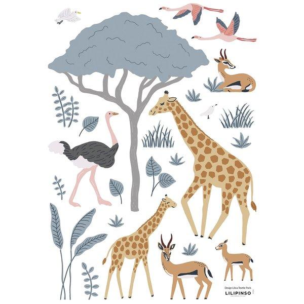 Lilipinso Lilipinso muursticker kinderkamer dieren safari giraffe enflamingo's