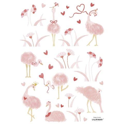 Lilipinso muursticker struisvogels roze