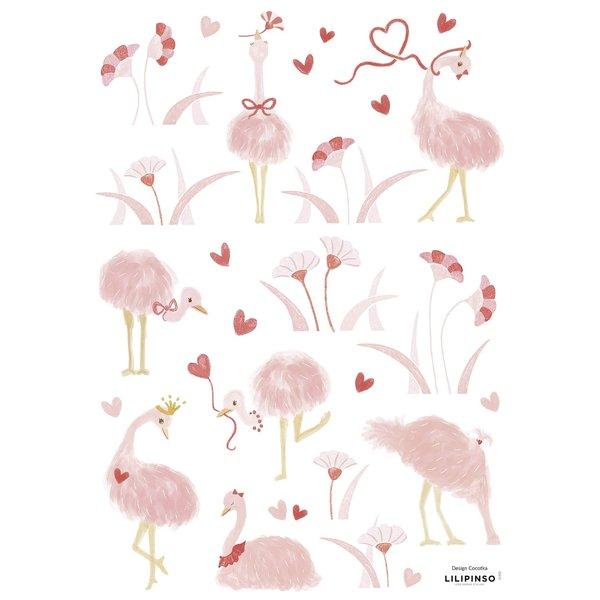 Lilipinso Lilipinso muursticker kinderkamer struisvogels roze