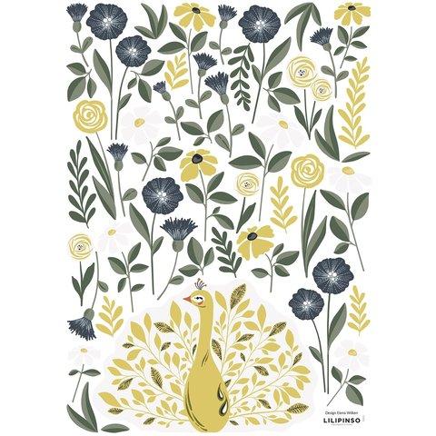 Lilipinso muursticker pauw en bloemen