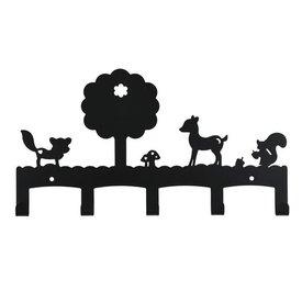 Land of Kids Kinderkapstok woodland antraciet zwart