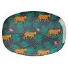 Rice melamine bord ovaal Leopard and Leaves print