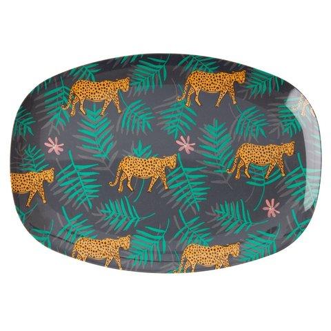 Rice melamine bord ovaal luipaard