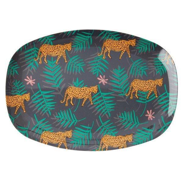 rice Denmark Rice melamine bord ovaal Leopard and Leaves print
