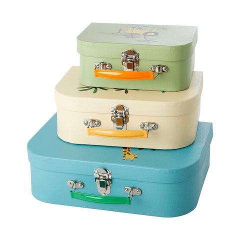 Rice speelgoedkoffer set jungle blauw, creme en groen