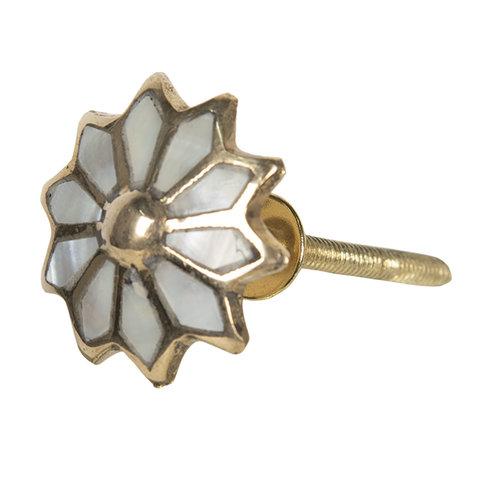 Deurknopje bloem goud parelmoer