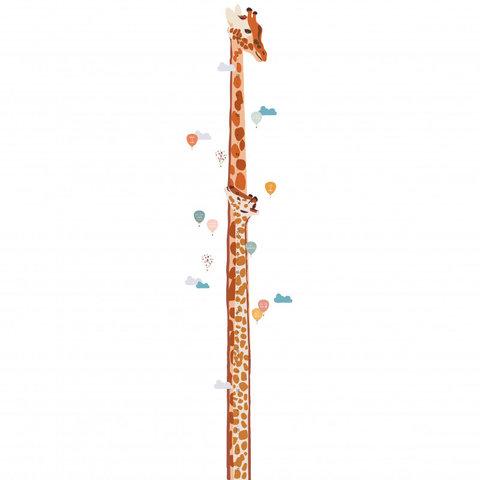 Mimilou muursticker meetlat giraffe