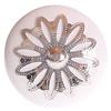 La Finesse kastknop porselein wit met zilveren rozet bloem