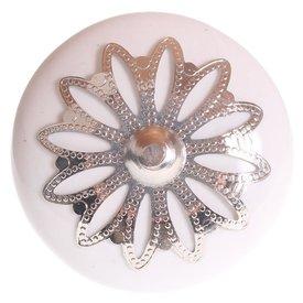 La Finesse La Finesse kastknopje wit met zilveren rozet bloem