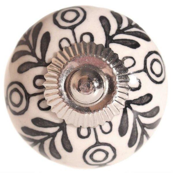 La Finesse La Finesse kastknopje creme met zwart bloemen patroon