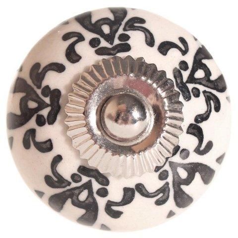 La Finesse kastknopje creme met zwart patroon