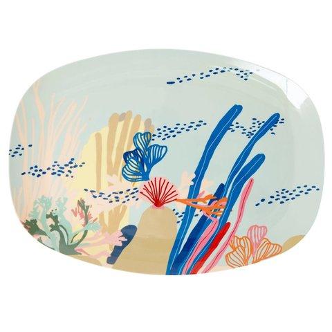 Rice melamine bord ovaal Coral Reef print
