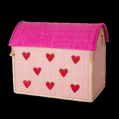 Rice speelgoedmand  huis hartjes groot
