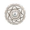 Clayre & Eef deurknopje rond wit met donkergroen strepen patroon