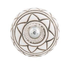 Clayre & Eef Deurknopje porselein rond met donkergroen strepen patroon