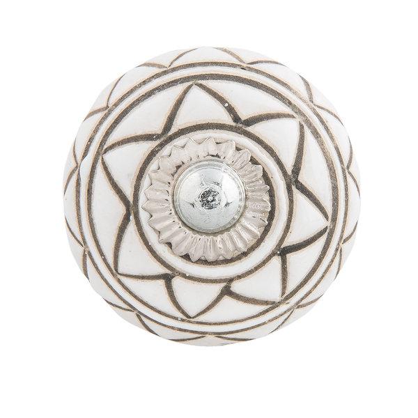 Clayre & Eef Clayre & Eef deurknopje rond wit met donkergroen strepen patroon