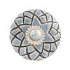 Clayre & Eef deurknopje rond grijs blauw met bruin strepen patroon