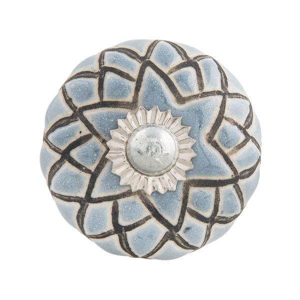 Clayre & Eef Clayre & Eef deurknopje rond grijs blauw met bruin strepen patroon