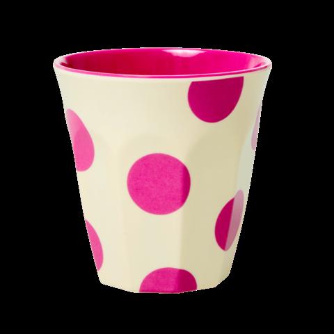 Rice melamine beker creme met fuchsia roze stippen