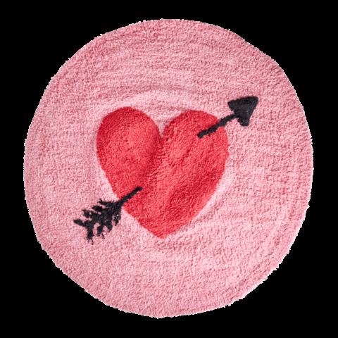 Rice vloerkleed roze rond met hartje